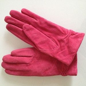 Pink leather gloves - size S